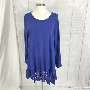 Logo Lori Goldstein Womens 1X Top Tunic Blue Royal